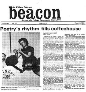"Beacon (NJ) 1979: ""POEZ has been growing a powerful poetry ... A street poetry, acted out in the streets of his imagination."""
