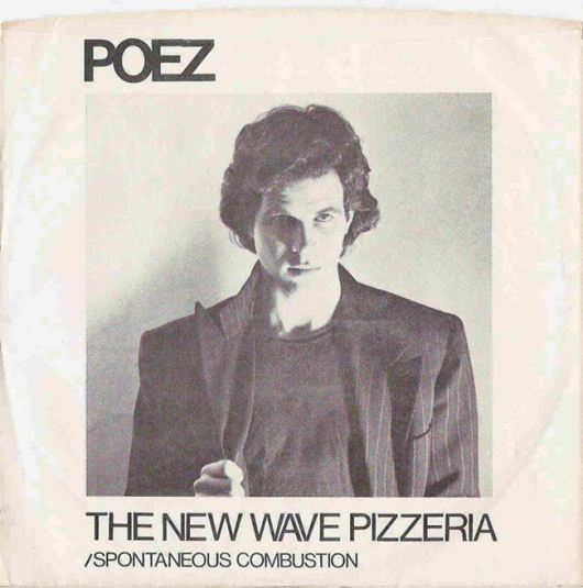 "Sleeve design for 45 RPM single, ""The New Wave Pizzeria."""