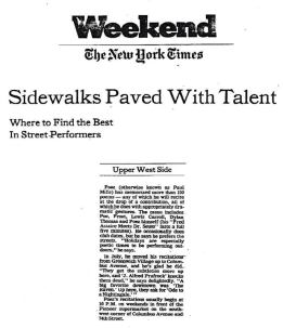 "New York Times 1983: ""The Best In Street Performers"""